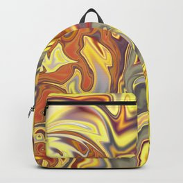 Wild Yellow Madness Liquid Marble Backpack
