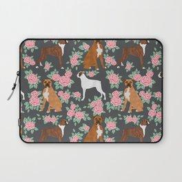 Boxer florals floral pattern dog portrait pet friendly dog breeds boxers Laptop Sleeve