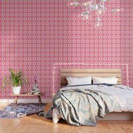 Doily Mandala Kaleidoscope Pattern in Bight Pink and Yellow Wallpaper