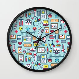 Proud To Be a Nurse Pattern / Blue Wall Clock