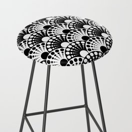 black and white art deco inspired fan pattern Bar Stool