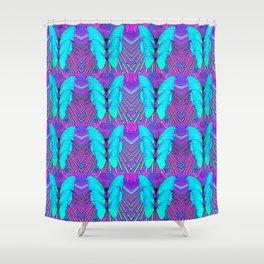 MODERN ART NEON BLUE BUTTERFLIES SURREAL PATTERNS Shower Curtain