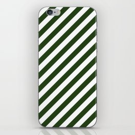 Large Dark Forest Green and White Candy Cane Stripes iPhone Skin