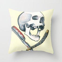 Skull Cut throat Throw Pillow