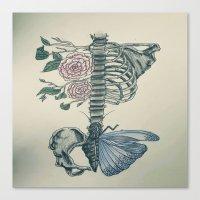 skeleton Canvas Prints featuring Skeleton by ArtSchool