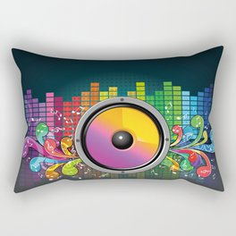 Colorful equalizer and music speakers illustration Rectangular Pillow