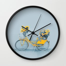 Yellow vintage bike with sunflowers Wall Clock