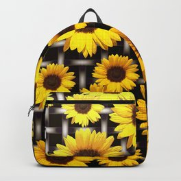Bright Yellow Sunflower and Industrial Grid Pattern Backpack