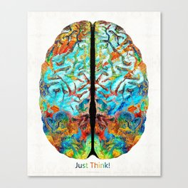 Colorful Brain Art - Just Think - By Sharon Cummings Canvas Print