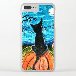 Cat in Pumpkin Patch Clear iPhone Case