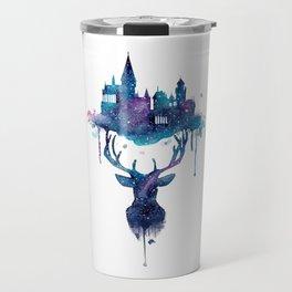Always - Magical Deer in a Wizard World in watercolor Travel Mug