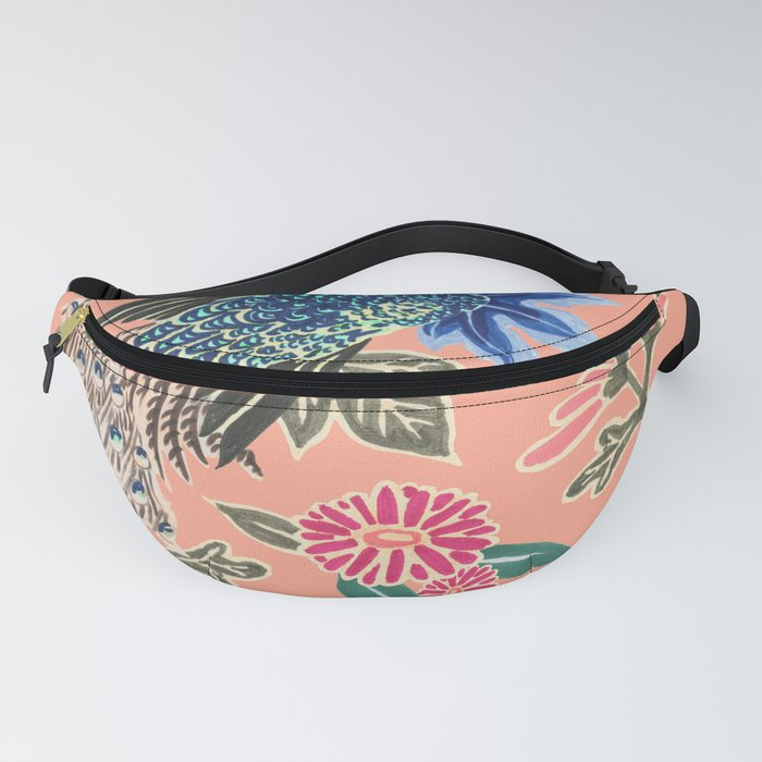 Peacock Floral in Coral Fanny Pack