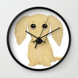 Longhaired Cream Dachshund Wall Clock