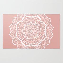 White Flower Mandala on Rose Gold Rug