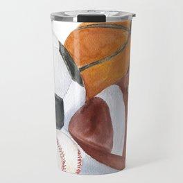 Sports Balls Watercolor Painting Travel Mug