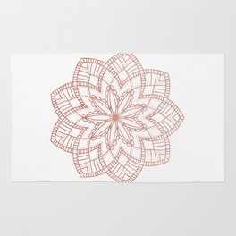 Mandala Posy Flower Rose Gold on White Rug