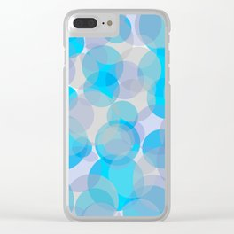 Blue circles pattern Clear iPhone Case