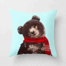 Baby bear in Christmas Mood Throw Pillow