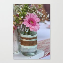 Pink flower in shabby chic vase Canvas Print