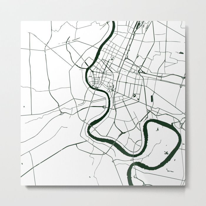 Bangkok Thailand Minimal Street Map - Forest Green and White Metal Print