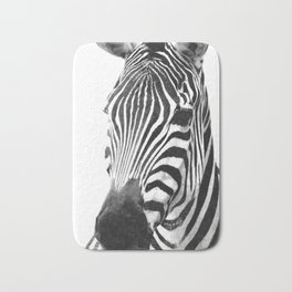 Black and white zebra illustration Bath Mat