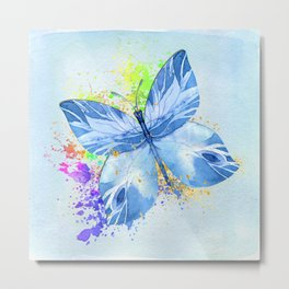 Blue Butterfly Watercolor Rainbow And Gold Metal Print