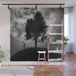 The boy, the tree and the moon Wall Mural