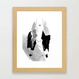 Black Leather and Red Framed Art Print