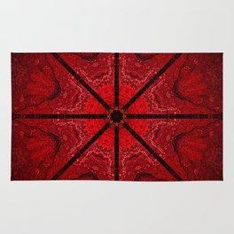 Red and Black Star Mandala Rug