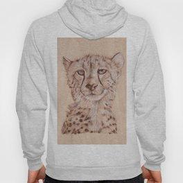 Cheetah - Drawing by Burning on Wood - Pyrography Art Hoody