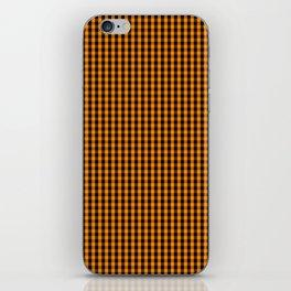 Small Pumpkin Orange and Black Gingham Check Plaid iPhone Skin