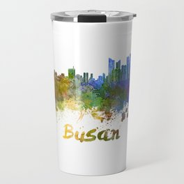 Busan skyline in watercolor Travel Mug