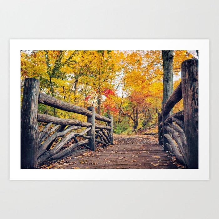 Autumn - Central Park - Wooden Bridge - New York City Art Print