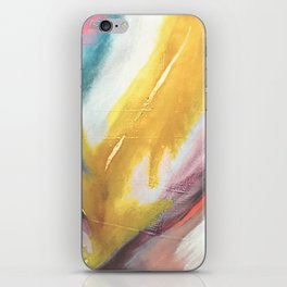 Ambition: a colorful abstract piece in bold yellow, blue, pink, red, and gold iPhone Skin