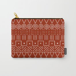 Mudcloth Style 1 in White on Red Carry-All Pouch