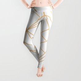 Geometric Gold Pattern With White Shimmer Leggings