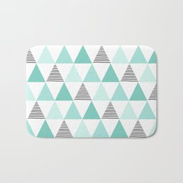 Black Stripes and Mint Triangles Bath Mat