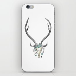 Floral Stag Skull iPhone Skin
