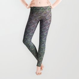 Silver Rainbow Mermaid Scales Leggings