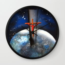 Saving the World Cross Spray Paint Wall Clock