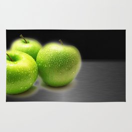 Wet Green Apples on Metallic Background Rug