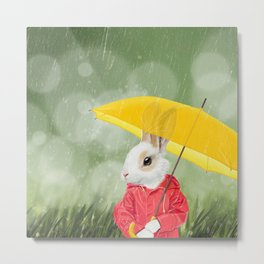 It's raining, little bunny! Metal Print