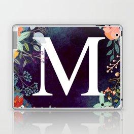 Personalized Monogram Initial Letter M Floral Wreath Artwork Laptop & iPad Skin