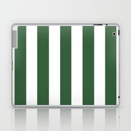 Hunter green - solid color - white vertical lines pattern Laptop & iPad Skin