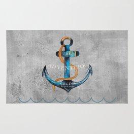 Maritime Design- Nautic Anchor Navy Marine Beach Rug