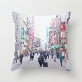 Girl in a Big Big World Throw Pillow