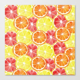 Grapefruit Lemon Orange Pattern Canvas Print