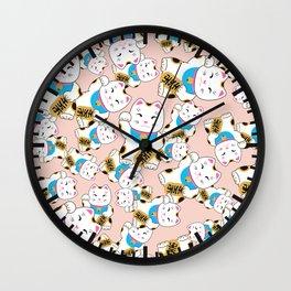Maneki-neko good luck cat pattern Wall Clock