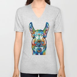 Colorful Llama Art - The Prince - By Sharon Cummings Unisex V-Neck