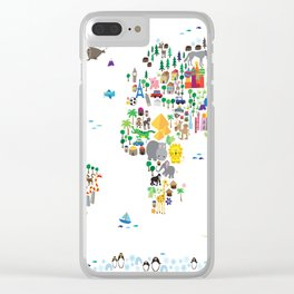 Animal Map of the World for children and kids Clear iPhone Case
